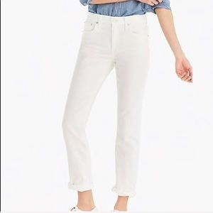J. Crew White Slim Broken In Boyfriend Jeans